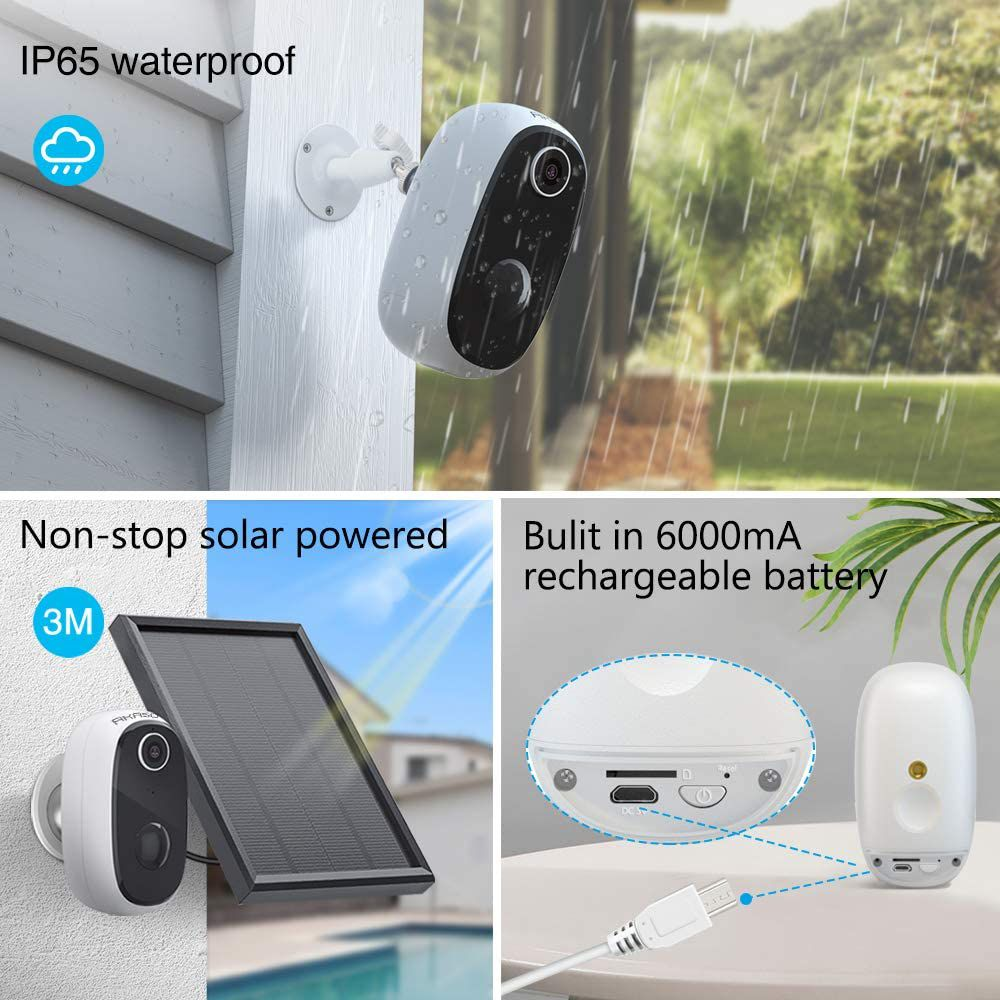 Wireless Outdoor Security Camera, WiFi Solar and Rechargeable Battery Indoor Home Security Camera, Alexa/Google Home, 1080P, Night Vision, 2-Way Audio