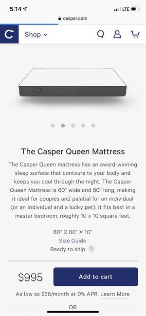 Casper queen mattress for Sale in Washington, DC