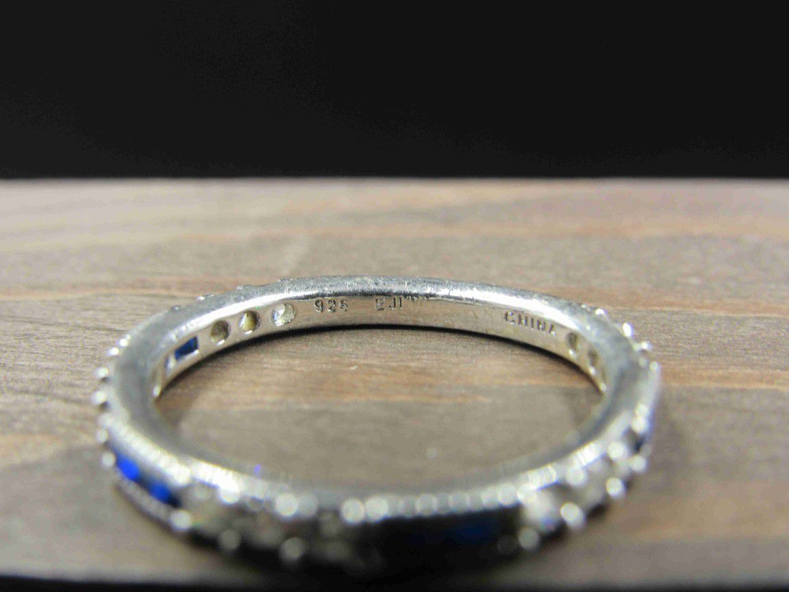 Size 7.75 Sterling Silver Blue Spinel & CZ Band Ring Vintage Statement Engagement Wedding Promise Anniversary Bridal Cocktail Friendship