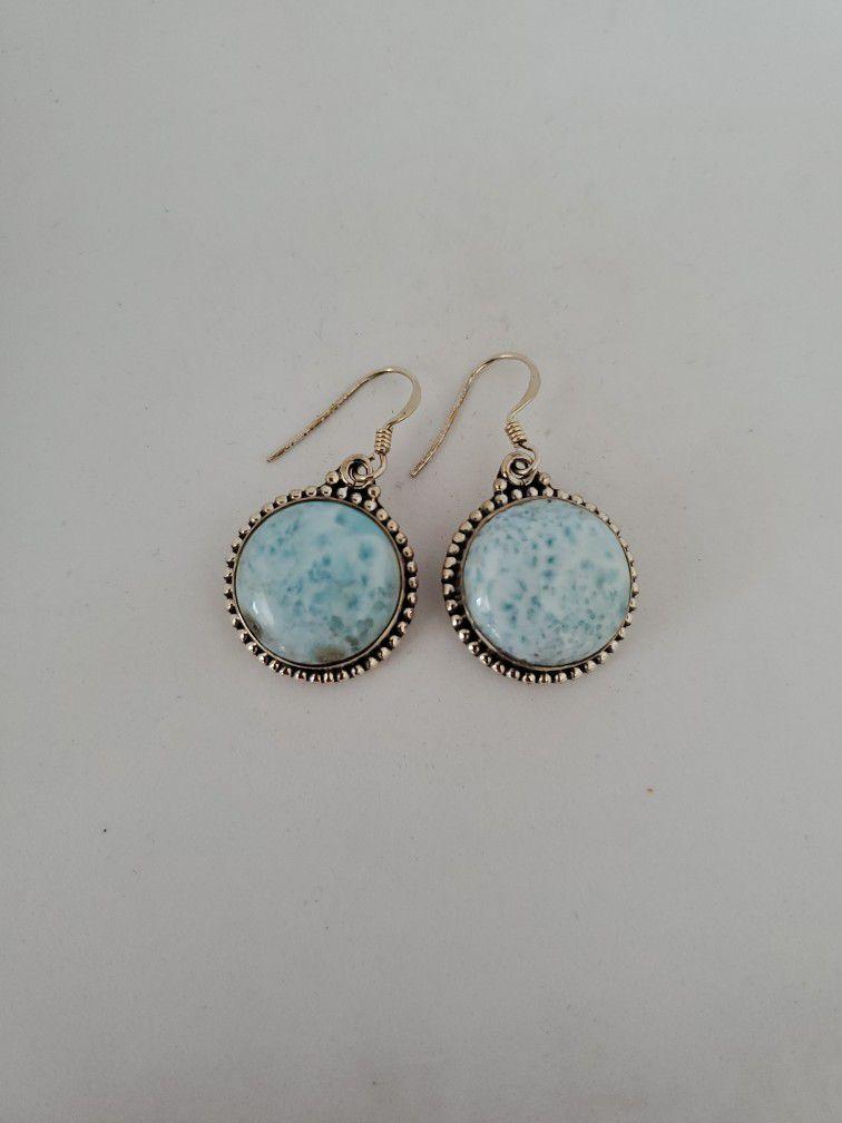 Genuine domecinan republic handcrafted Larimar earrings in 925 sterling silver