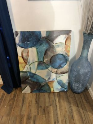 Abstract Wall Art blue yellow grey circles for Sale in Springfield, VA