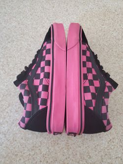 Vans Old Skool Hot Pink & Black Checkered Shoes Size 5.5 Girls Thumbnail