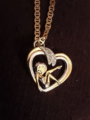 Photo Antiquitie collectable 14k gold filled betty boop pendant and chain
