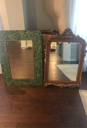 """Photo Two mirrors for sale - Green mosaic tile is """"30-1/4 x 42"""". The brick red tone mirror is """"29-1/2 x 43-1/2"""". Both are in excellent condition. Each 125"""
