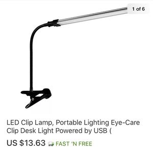 LED Clíp Lamp, Portable Lighting Eye-Care Clíp Desk Light Powered by USB for Sale in City of Industry, CA
