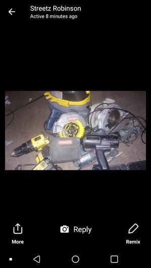 Power drill nail gun grinder two circular saws inpact drill must go now everything works fine must pick up brands are dewalt bosch. Milwaukee ryobi for Sale in Washington, DC