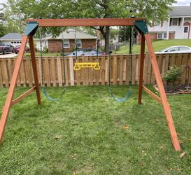 New Brown Wooden Kids Swing Set Thumbnail