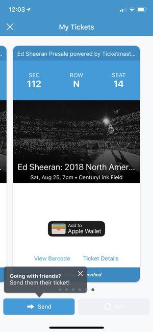 Ed Sheehan tickets for Sale in Newcastle, WA