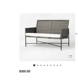 Wicker & Metal X Frame Patio Loveseat - Gray - Threshold™ designed with Studio M Thumbnail
