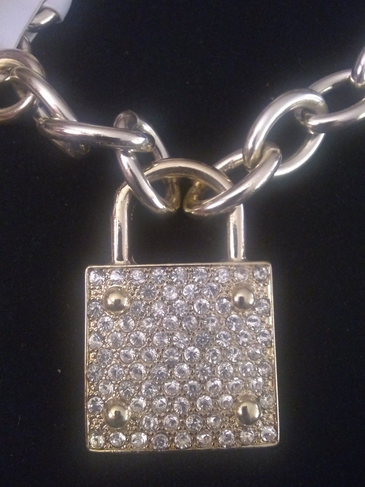 18k plated big iced put choker necklace