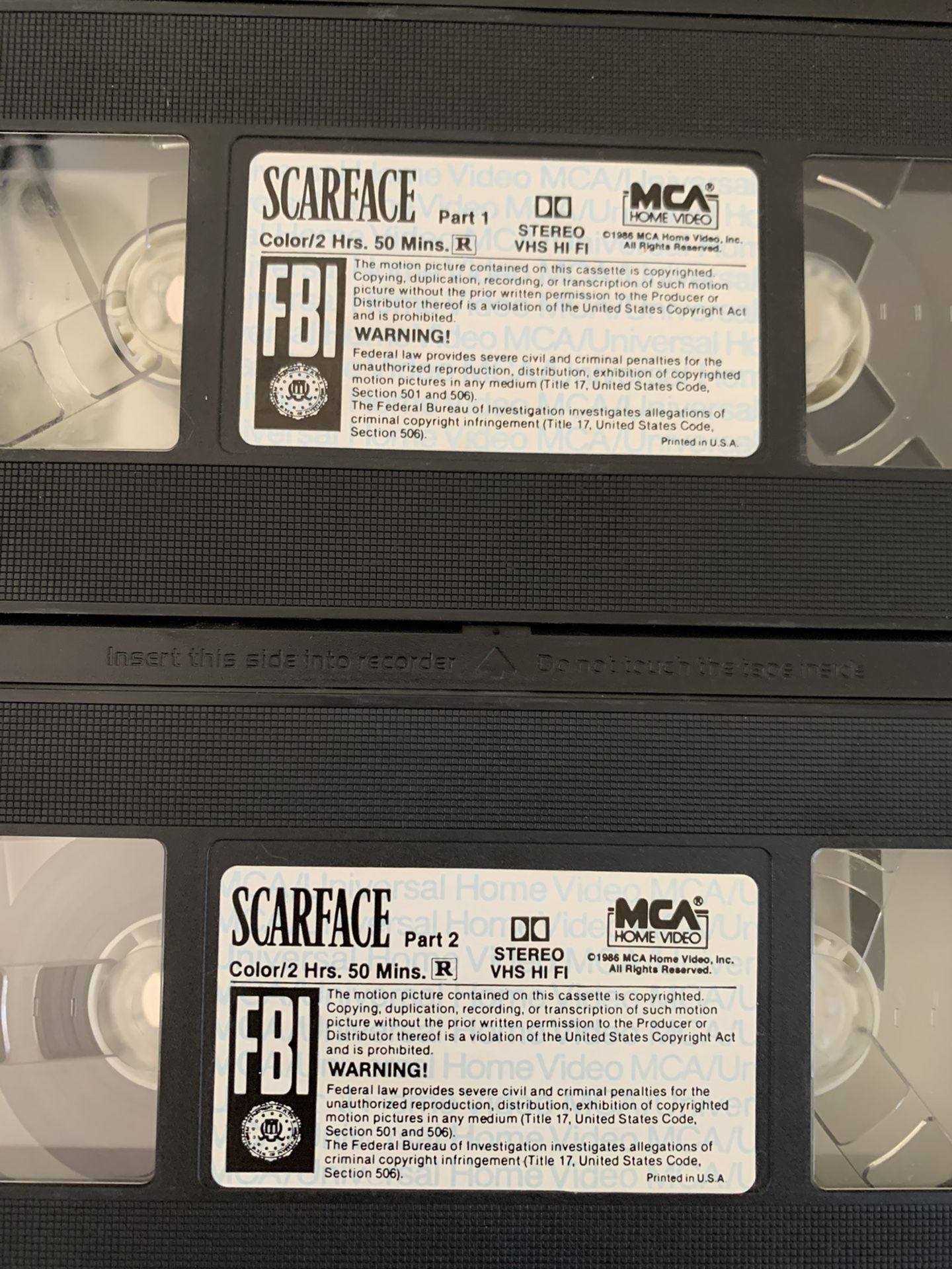 Scarface Box Set VHS Part 1 & 2