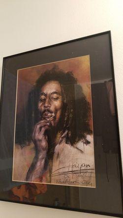 Bob Marley hand drawn in solid black frame Thumbnail