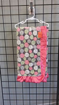 Pink,gray,and green minky baby blanket 30x36 Thumbnail