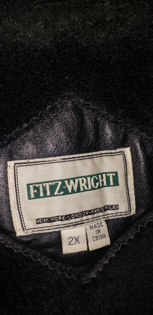 Photo Mens Fitz-Wright 2XL leather hooded jacket for on inside