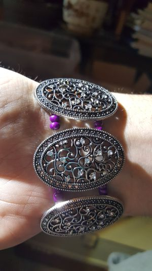 Silver Ovals with purple Bracelet for Sale in Portland, OR
