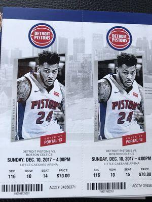 Detroit Pistons vs Boston Celtics 12/10 for Sale in Windsor, ON