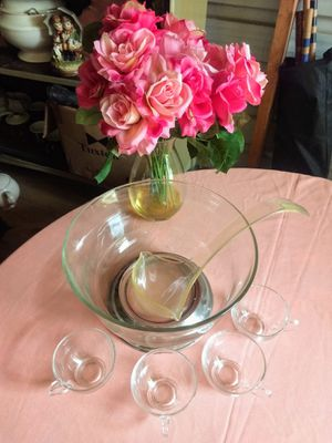 Photo Styson art stainless steel and fine glass punch bowl set