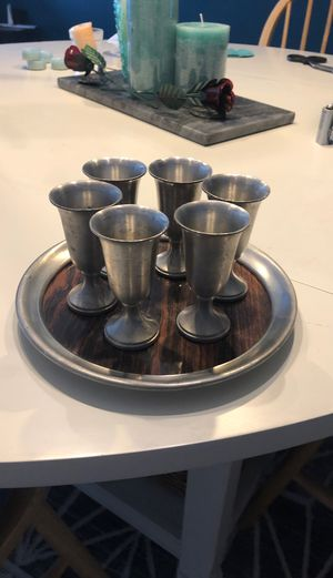 Photo Pewter shot glass set with tray