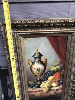 Beautiful framed Still Life Oil painting Italian fruit Berings retail $600 Thumbnail
