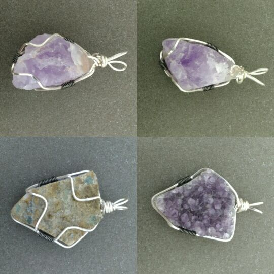 Amethyst Pendants wire wrapped