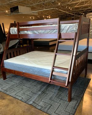 Photo Twin over full size bunk beds and twin mattress