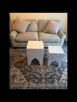"""New living room set large beige microfiber sofa 70x35 , 2 pillows 2 mosaic tables 5x7"""" beige brown rug pick up in Gaithersburg Maryland 20877 for Sale in Gaithersburg, MD"""