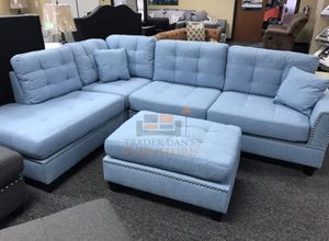Brand new light blue sectional sofa with ottoman for Sale in Silver Spring, MD