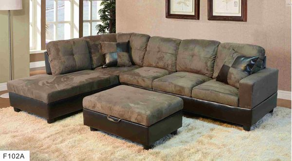 Gray Microfiber Sectional Left Facing Lounge With Storage Ottoman For In Seatac Wa Offerup