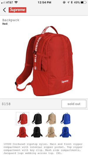 993b33f3201 Supreme Backpack SS18 - Red for Sale in Westminster