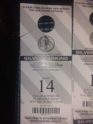 Dallas Mavericks SilverParking for Sale in Dallas, TX