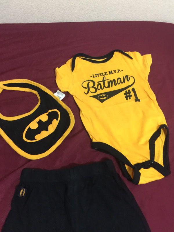 toddler's Batman onesie with bib and pants set