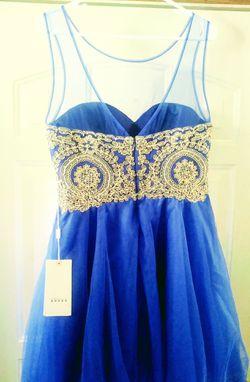 Royal blue & Gold formal dress Thumbnail