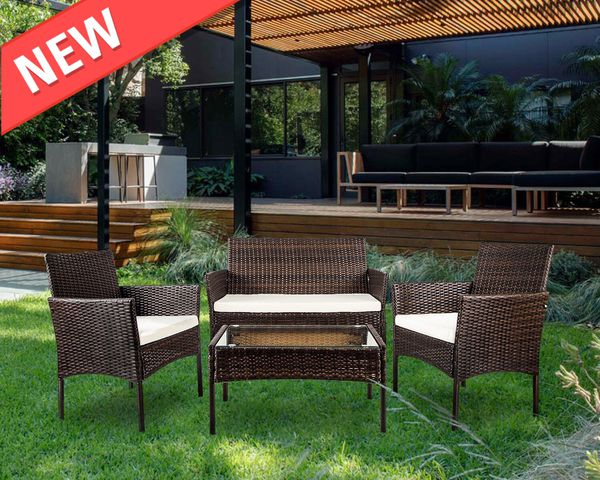 Terrific 4 Pc Outdoor Garden Rattan Patio Furniture Set With Tempered Glass Tabletop Brown For Sale In Philadelphia Pa Offerup Download Free Architecture Designs Crovemadebymaigaardcom