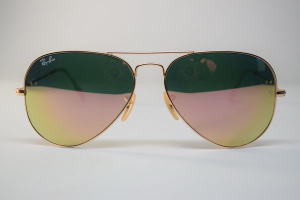 56c927f726a68 Ray-Ban Aviator - Pink Copper Flash Mirror - Gold Matte Frame for ...