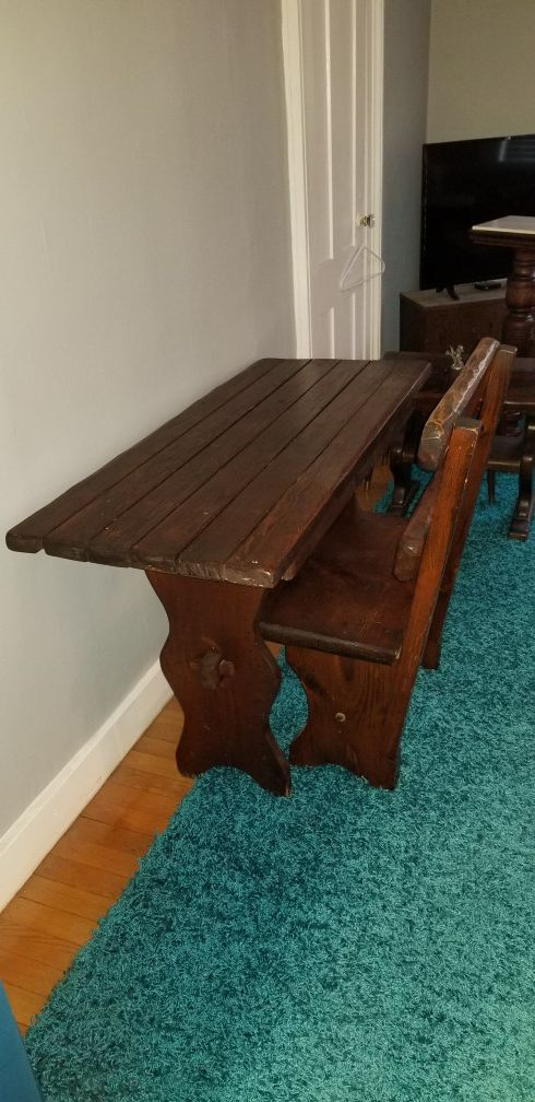 Antique table with bench, Classic look
