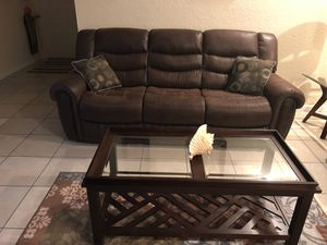 $400 very new reclining sofa (table $30) for Sale in Coral Springs, FL