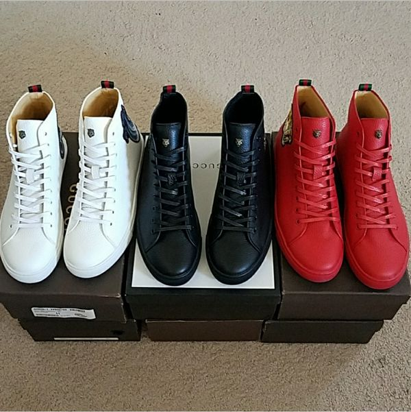 9a148530cca Men s Gucci Leather High Tops Canvas Red  Black   White for Sale in ...
