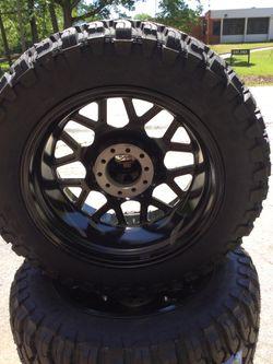 "20"" wheels 20x10 5x5.5 5x150 HARDROCK GLOSS BLACK and 20"" tires 33x12-50-20 COMFORSER CF3000 M/T ALL NEW FIT Toyota Tundra and Dodge Ram Thumbnail"