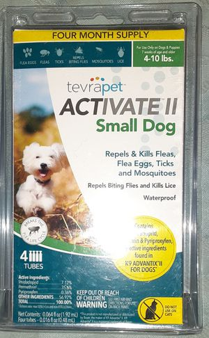 Photo ◇◇ACTIVATE II◇◇ BY TEVRAPET FOR SMALL DOGS 4 TO 10 POUNDS. REPELS AND KILLS FLEAS, FLEA EGGS, TICKS, MOSQUITOES, BITING FLIES, AND LICE.