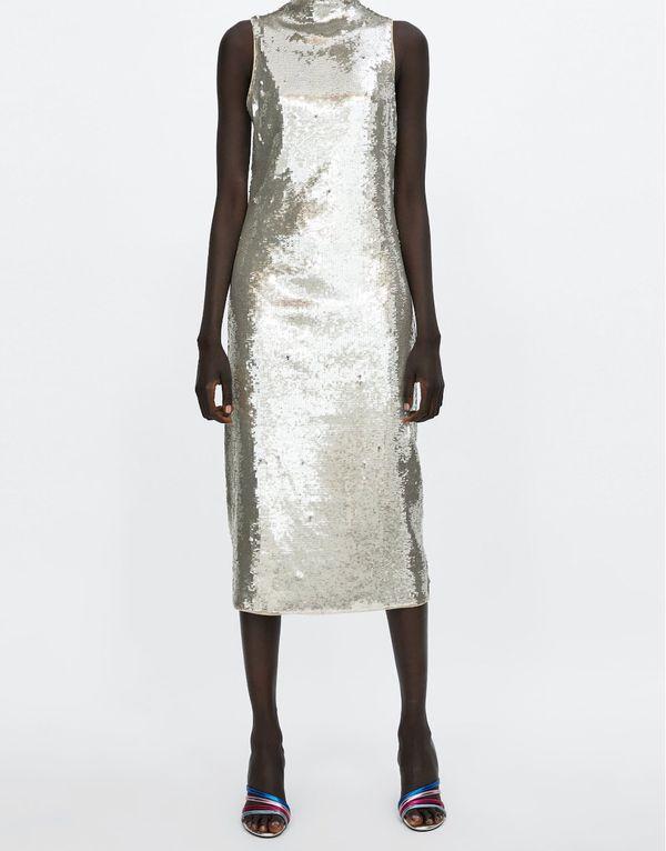 42069f8607c32e Zara NWT midi size M silver sequin dress tulle lining  75. Sleeveless